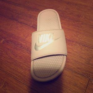 Rose gold Nike Slides